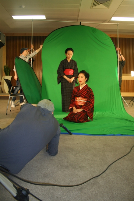 Actress Ava Lyn Koh with Kyoko Morita preparing for a scene