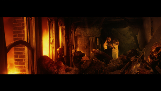 Takashi (Leo Ashizawa) confronts the destruction, aided by Nurse Hashimoto (Leila Wong)