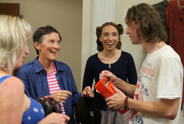 Producer Nigel Davey shares a joke with Charissa Shearer, Susan Jameson and costume ace Monica Price