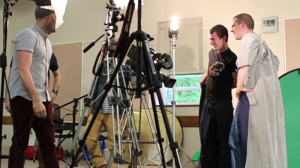 Our two assistant camera  men, Josh and Dan step in front of the camera to act as body doubles for us!